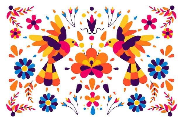 Diseño plano colorido concepto mexicano para el fondo