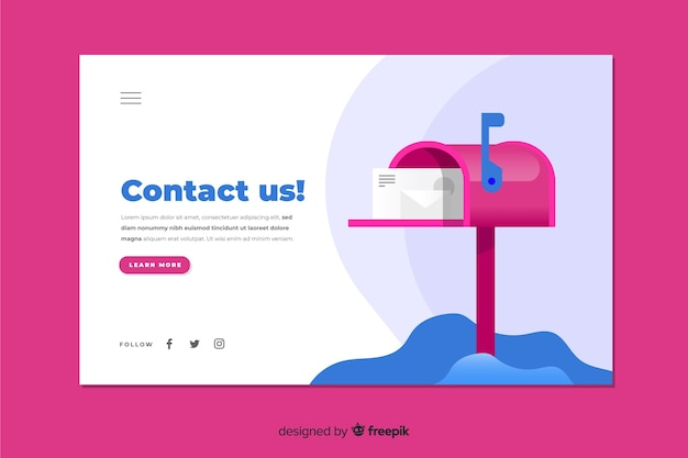 Diseño plano colorido contáctenos página de inicio con buzón