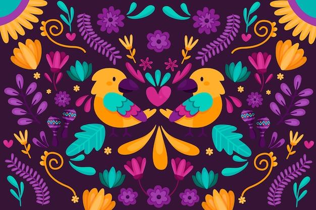 Diseño plano colorido diseño de fondo mexicano