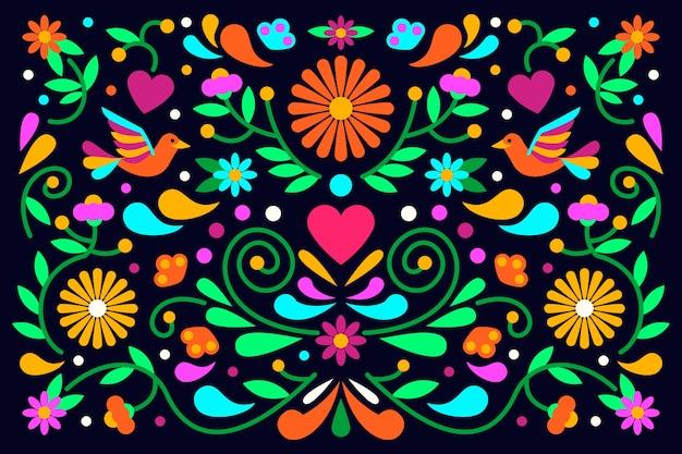 Diseño plano colorido diseño de papel tapiz mexicano