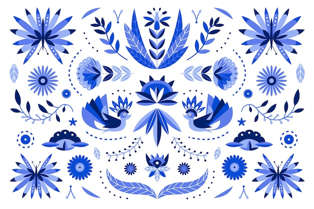 Diseño plano colorido fondo mexicano