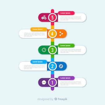 Diseño plano colorido infografía timeline