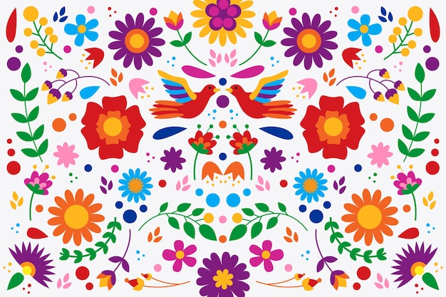 Diseño plano colorido papel tapiz mexicano