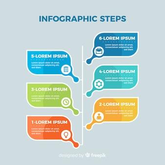 Diseño plano colorido pasos infográficos