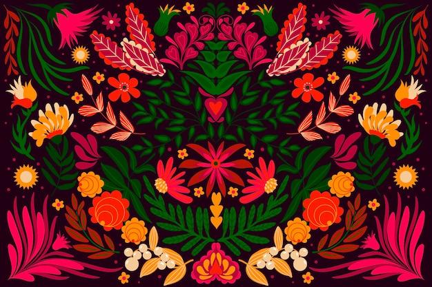 Diseño plano colorido tema de fondo mexicano