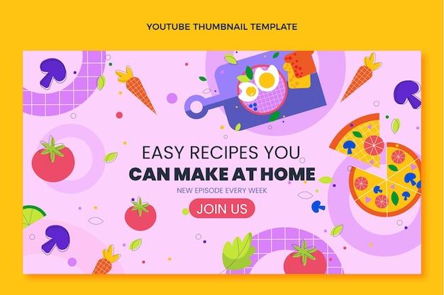 Diseño plano de comida en miniatura de youtube.