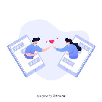 Diseño plano del concepto de aplicación de citas