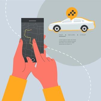 Diseño plano del concepto de aplicación de taxi