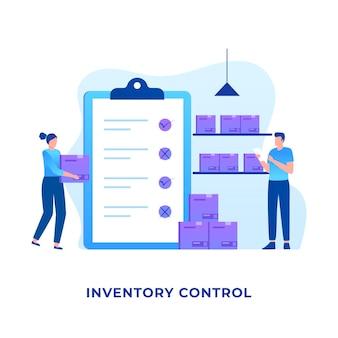 Diseño plano del concepto de control de inventario. ilustración para sitios web, páginas de destino, aplicaciones móviles, carteles y pancartas.