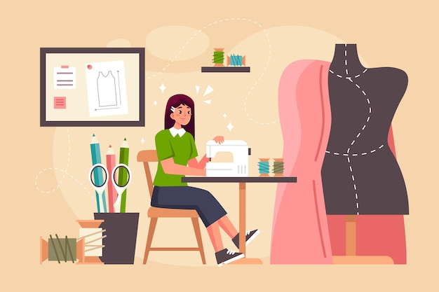 Diseño plano del concepto de diseñador de moda