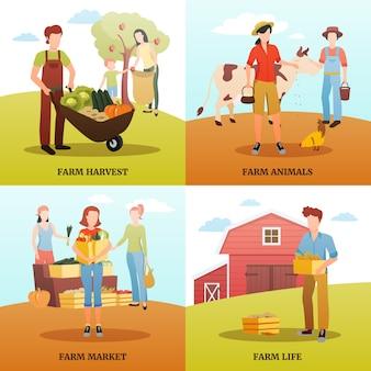 Diseño plano concepto de diseño 2x2 con familias que viven y trabajan en una granja durante el otoño