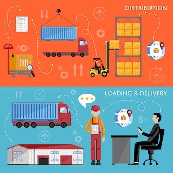 Diseño plano del concepto de gestión de almacenes