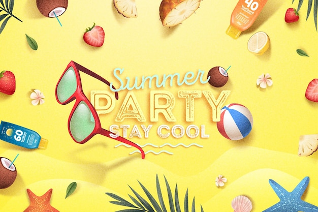 Diseño plano concepto hola verano