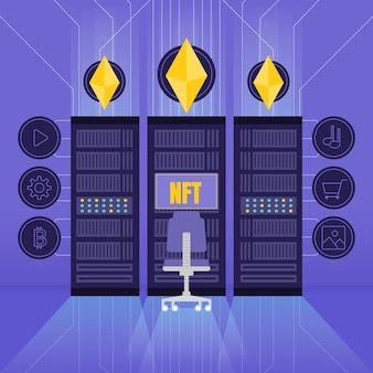 Diseño plano del concepto nft