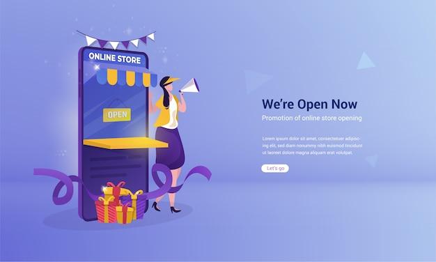 Diseño plano del concepto de promoción de apertura de tienda online.