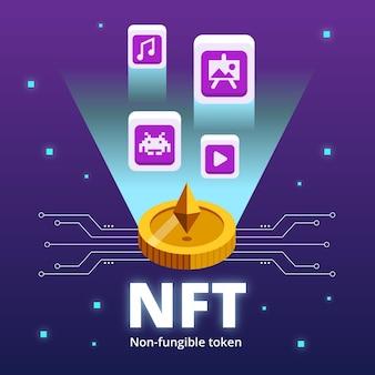 Diseño plano del concepto de token no fungible.