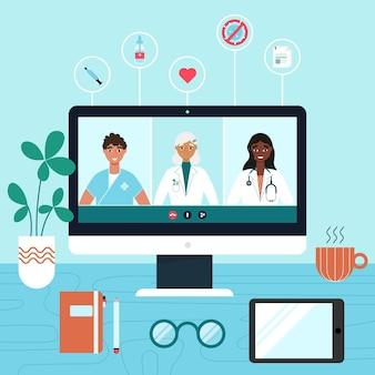 Diseño plano de conferencia médica en línea.