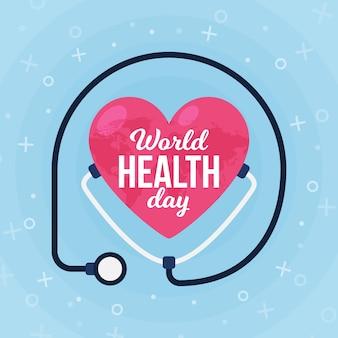 Diseño plano corazón del día mundial de la salud rodeado de estetoscopio