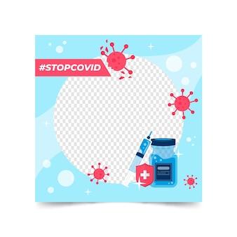 Diseño plano coronavi avatar coronavirus dibujado a mano facebook framerus marco de facebook