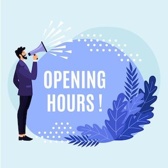 Diseño plano creativo nuevo cartel de horario de apertura.