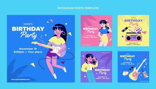 Diseño plano cumpleaños nostálgico de los 90