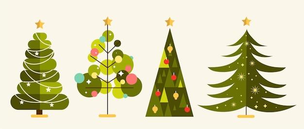 Diseño plano decorado árboles de navidad.