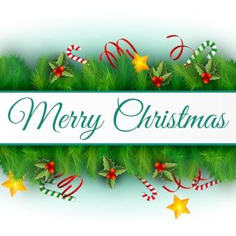 Diseño plano decorado feliz navidad tarjeta de vacaciones ilustración vectorial