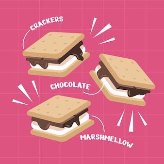 Diseño plano delicioso s'more ilustración