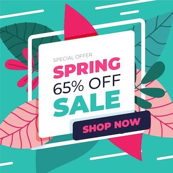 Diseño plano para descuento de venta de primavera