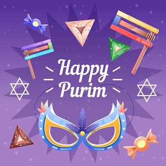 diseño plano detallado feliz día de purim