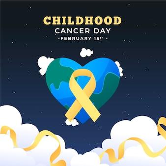 Diseño plano del día del cáncer infantil.