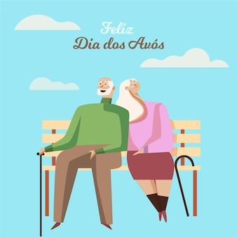 Diseño plano dia dos avós ilustración con abuelos