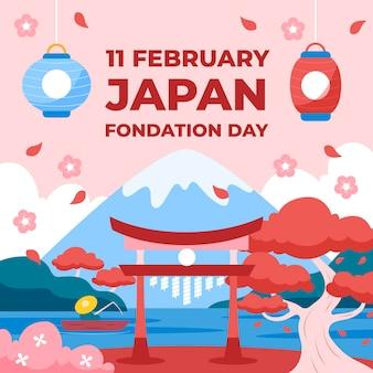 Diseño plano día de la fundación de japón