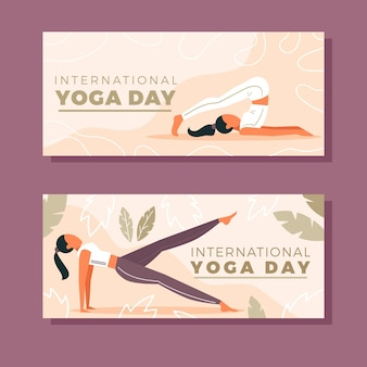 Diseño plano día internacional del banner de yoga