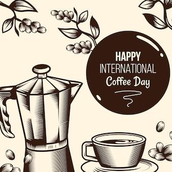 Diseño plano día internacional del café con cafetera.