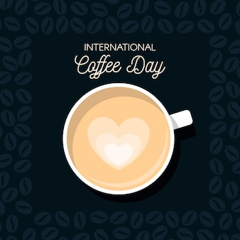 Diseño plano día internacional del café.