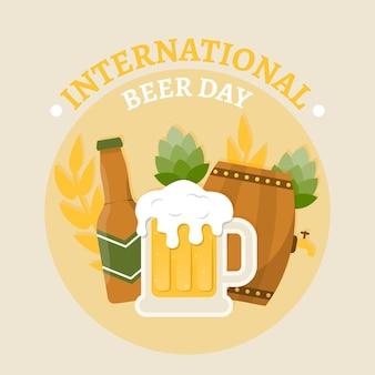 Diseño plano día internacional de la cerveza