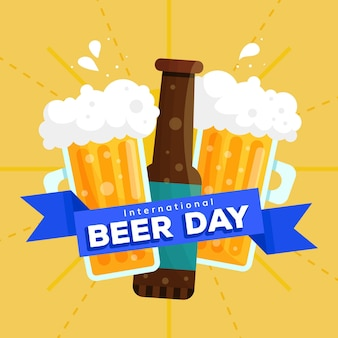 Diseño plano del día internacional de la cerveza