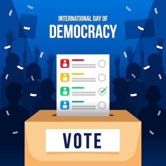 Diseño plano día internacional de la democracia de fondo con votación