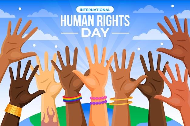 Diseño plano del día internacional de los derechos humanos.