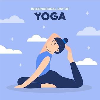 Diseño plano día internacional de la ilustración de yoga