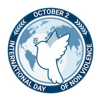 Diseño plano día internacional de la no violencia.