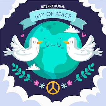 Diseño plano día internacional de la paz