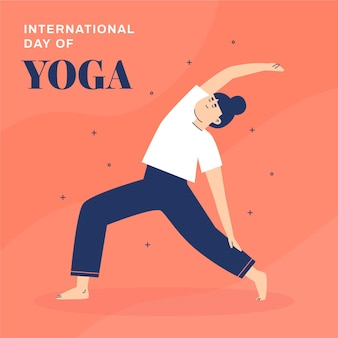 Diseño plano día internacional del yoga