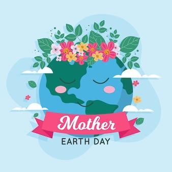 Diseño plano para el día de la madre tierra con planeta
