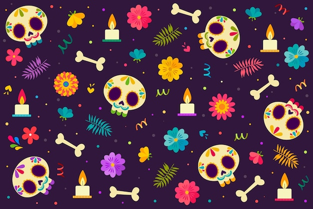 Diseño plano dia de muerstos background