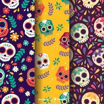Diseño plano dia de muertos patrón
