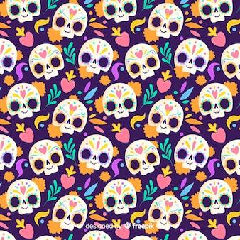Diseño plano dia de los muertos de patrones sin fisuras