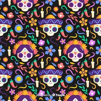 Diseño plano dia de muertos de patrones sin fisuras