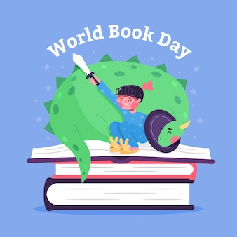 Diseño plano del día mundial del libro